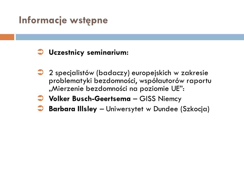Informacje wstępne Uczestnicy seminarium: 2 specjalistów (badaczy) europejskich w zakresie problematyki bezdomności, współautorów raportu Mierzenie be