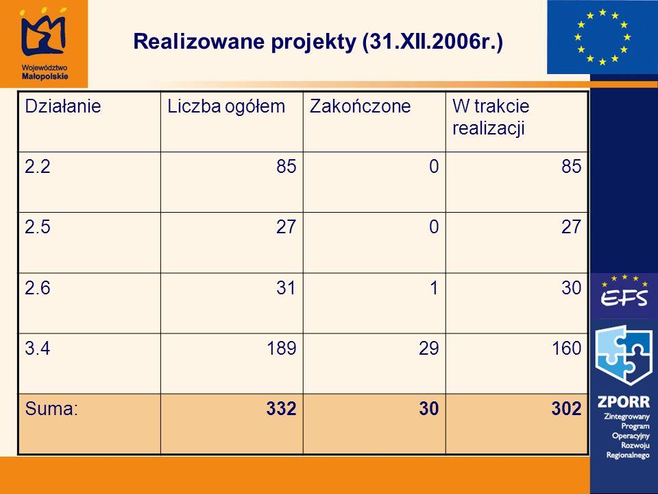 Realizowane projekty (31.XII.2006r.) DziałanieLiczba ogółemZakończoneW trakcie realizacji 2.2850 2.5270 2.631130 3.418929160 Suma:33230302