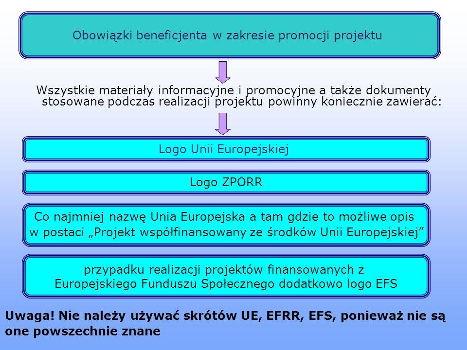 Obowiązki beneficjenta w zakresie promocji projektu Logo Unii Europejskiej Wszystkie materiały informacyjne i promocyjne a także dokumenty stosowane podczas realizacji projektu powinny koniecznie zawierać: Logo ZPORR Co najmniej nazwę Unia Europejska a tam gdzie to możliwe opis w postaci Projekt współfinansowany ze środków Unii Europejskiej przypadku realizacji projektów finansowanych z Europejskiego Funduszu Społecznego dodatkowo logo EFS Uwaga.