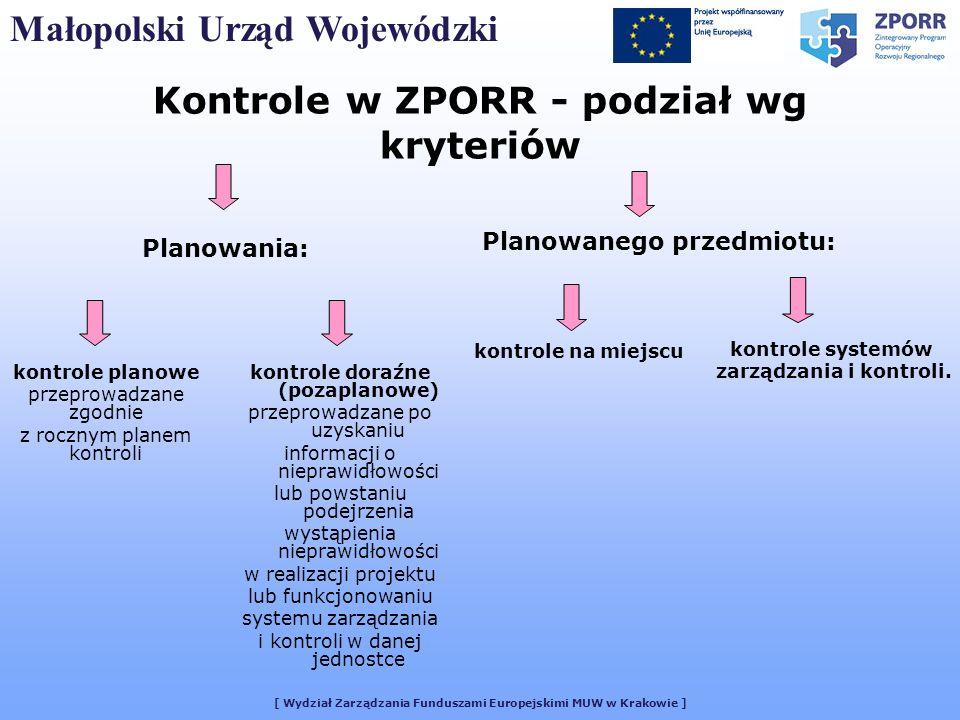 [ Wydział Zarządzania Funduszami Europejskimi MUW w Krakowie ] Małopolski Urząd Wojewódzki Kontrole w ZPORR - podział wg kryteriów kontrole planowe pr