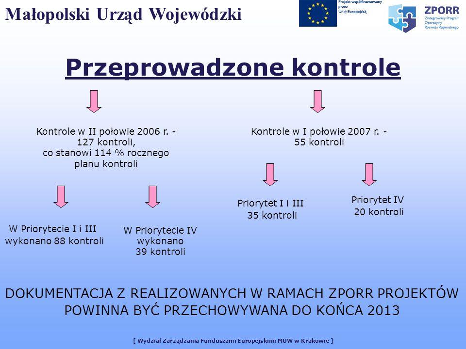 [ Wydział Zarządzania Funduszami Europejskimi MUW w Krakowie ] Małopolski Urząd Wojewódzki Przeprowadzone kontrole Kontrole w II połowie 2006 r. - 127