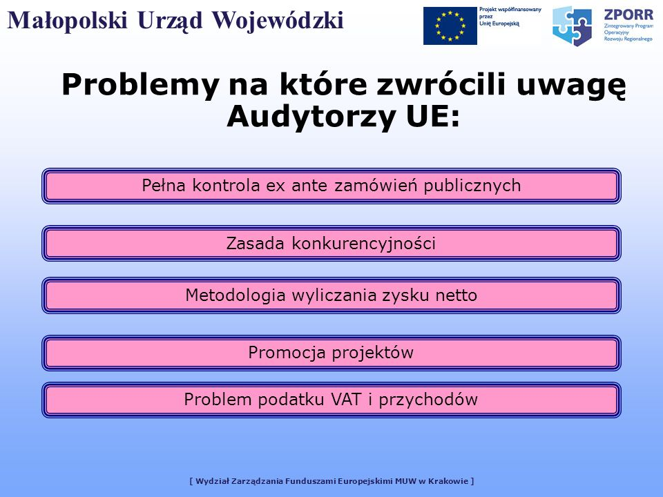 [ Wydział Zarządzania Funduszami Europejskimi MUW w Krakowie ] Problemy na które zwrócili uwagę Audytorzy UE: Małopolski Urząd Wojewódzki Pełna kontro