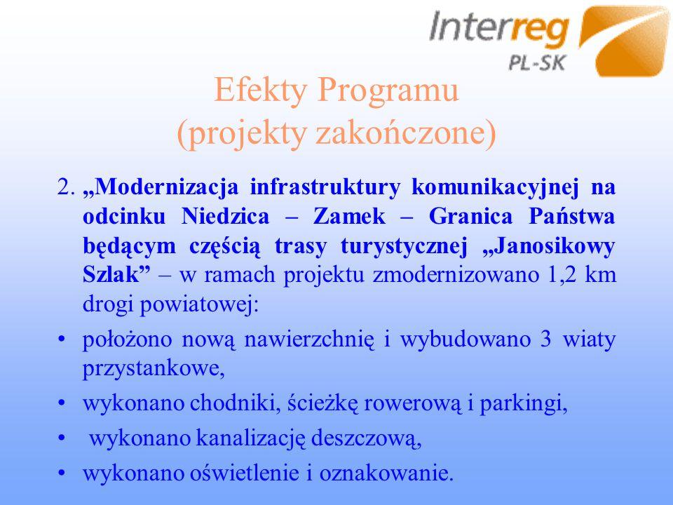 Efekty Programu (projekty zakończone) 2.Modernizacja infrastruktury komunikacyjnej na odcinku Niedzica – Zamek – Granica Państwa będącym częścią trasy
