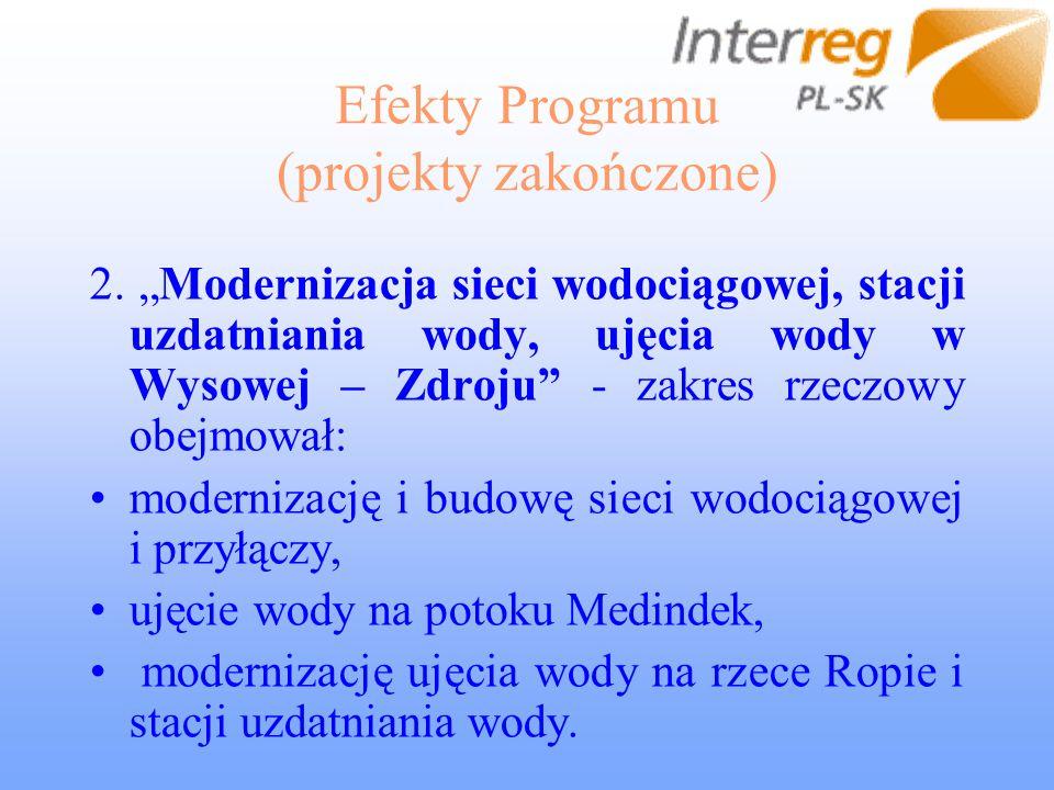 Efekty Programu (projekty zakończone) 2. Modernizacja sieci wodociągowej, stacji uzdatniania wody, ujęcia wody w Wysowej – Zdroju - zakres rzeczowy ob