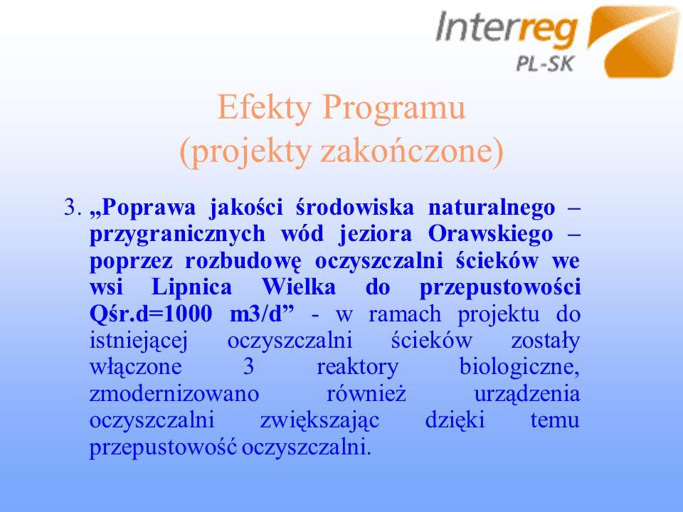 Efekty Programu (projekty zakończone) 3.Poprawa jakości środowiska naturalnego – przygranicznych wód jeziora Orawskiego – poprzez rozbudowę oczyszczalni ścieków we wsi Lipnica Wielka do przepustowości Qśr.d=1000 m3/d - w ramach projektu do istniejącej oczyszczalni ścieków zostały włączone 3 reaktory biologiczne, zmodernizowano również urządzenia oczyszczalni zwiększając dzięki temu przepustowość oczyszczalni.