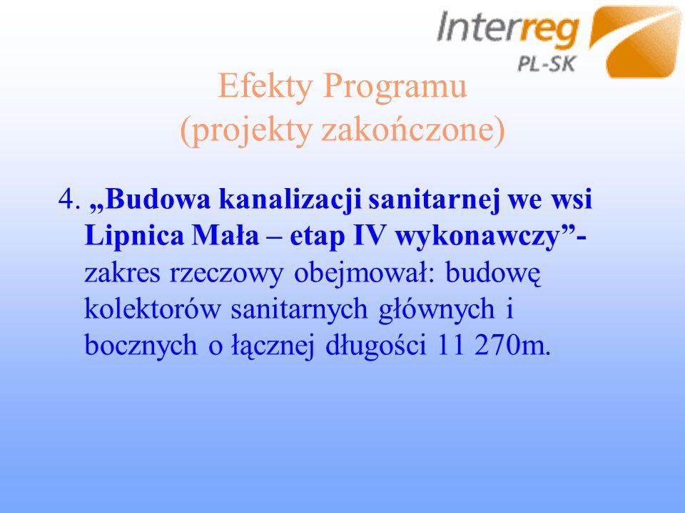 Efekty Programu (projekty zakończone) 4. Budowa kanalizacji sanitarnej we wsi Lipnica Mała – etap IV wykonawczy- zakres rzeczowy obejmował: budowę kol