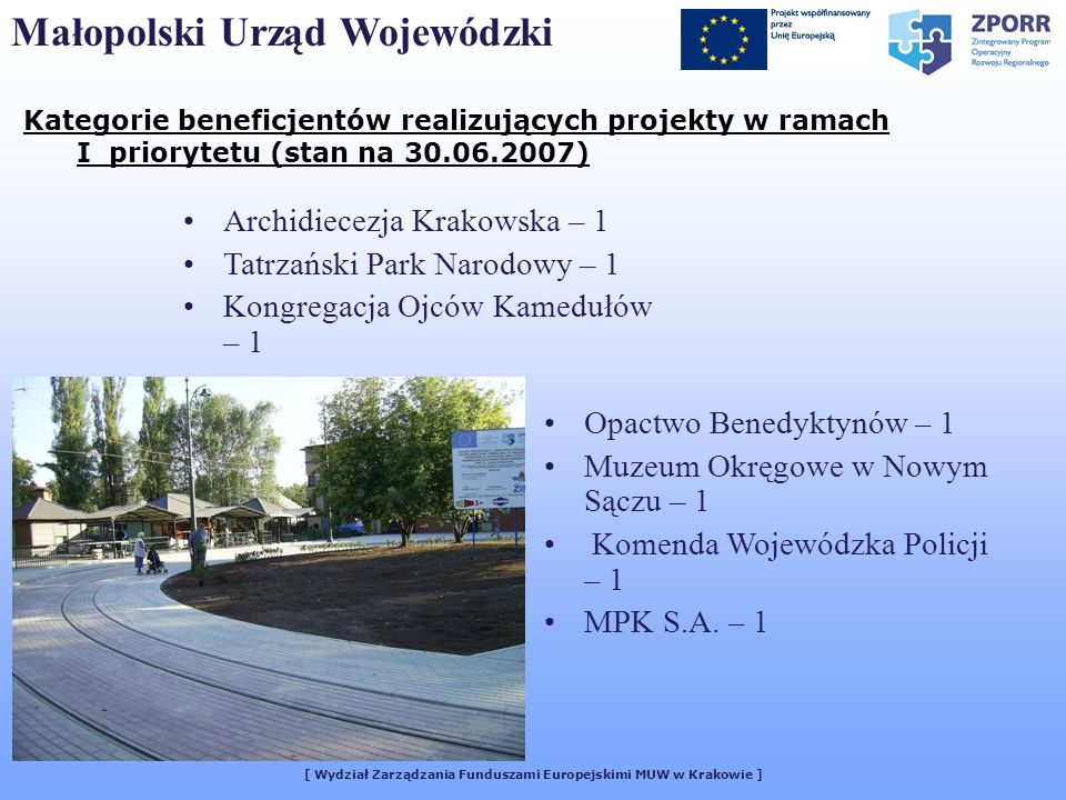 Kategorie beneficjentów realizujących projekty w ramach I priorytetu (stan na 30.06.2007) [ Wydział Zarządzania Funduszami Europejskimi MUW w Krakowie