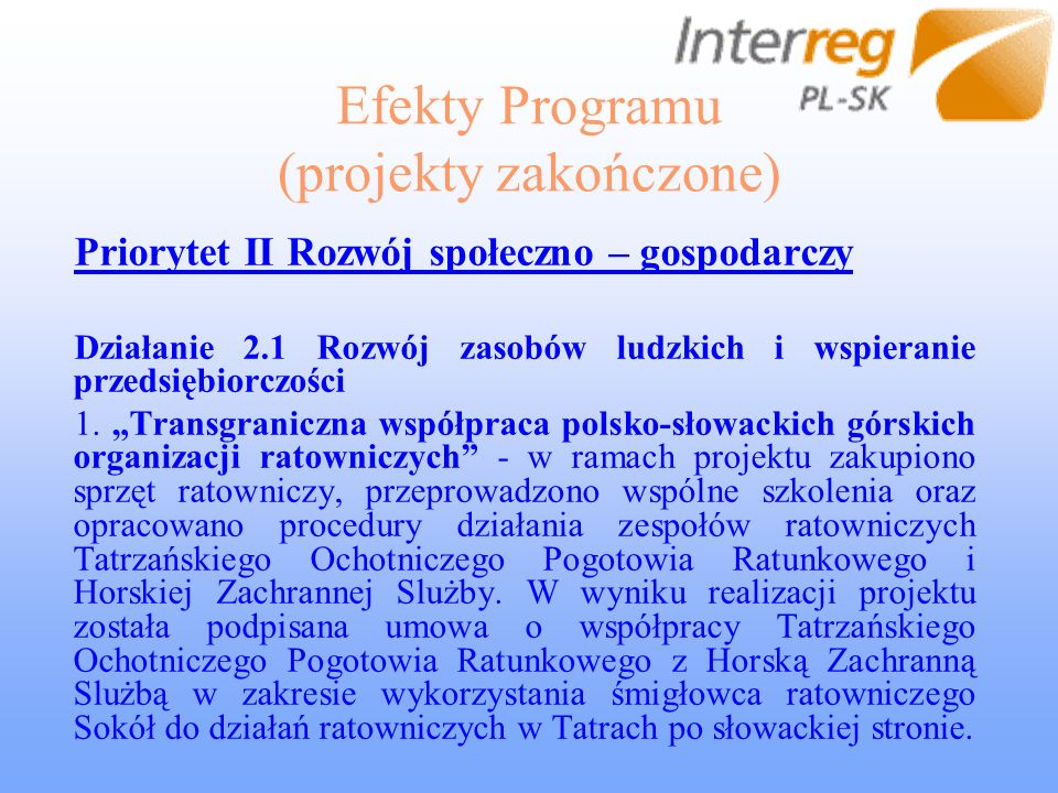 Efekty Programu (projekty zakończone) Priorytet II Rozwój społeczno – gospodarczy Działanie 2.1 Rozwój zasobów ludzkich i wspieranie przedsiębiorczości 1.