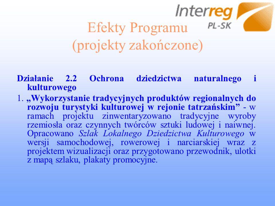Efekty Programu (projekty zakończone) Działanie 2.2 Ochrona dziedzictwa naturalnego i kulturowego 1. Wykorzystanie tradycyjnych produktów regionalnych