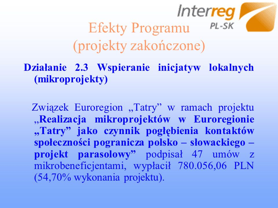 Efekty Programu (projekty zakończone) Działanie 2.3 Wspieranie inicjatyw lokalnych (mikroprojekty) Związek Euroregion Tatry w ramach projektuRealizacj