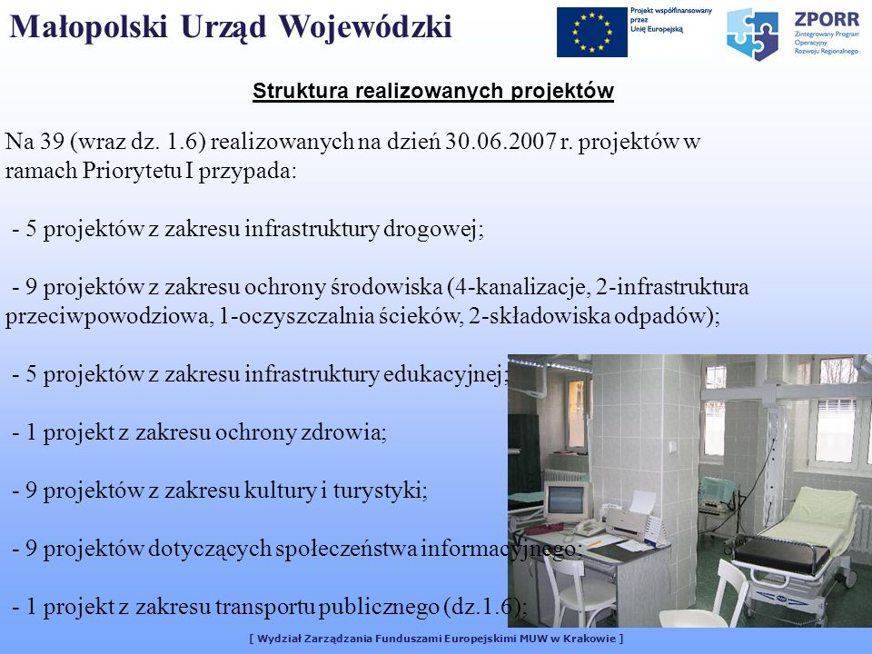 [ Wydział Zarządzania Funduszami Europejskimi MUW w Krakowie ] Struktura realizowanych projektów Na 39 (wraz dz. 1.6) realizowanych na dzień 30.06.200