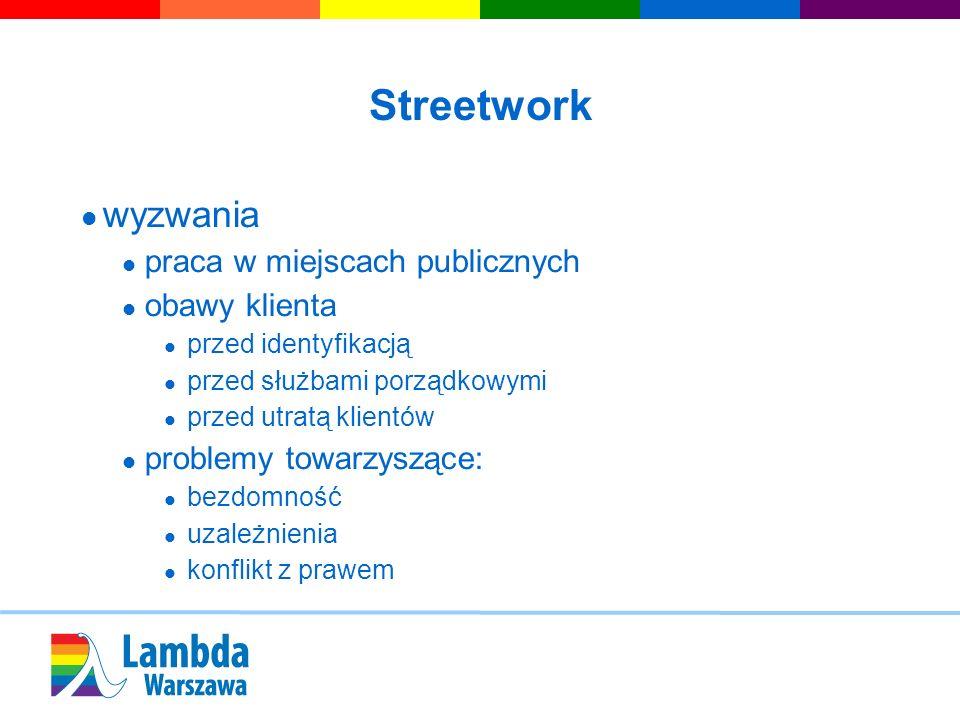 Streetwork wyzwania praca w miejscach publicznych obawy klienta przed identyfikacją przed służbami porządkowymi przed utratą klientów problemy towarzy