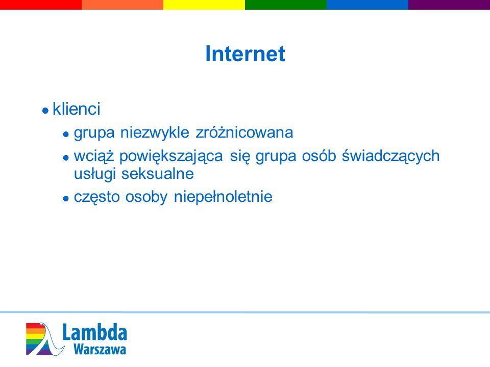 Internet klienci grupa niezwykle zróżnicowana wciąż powiększająca się grupa osób świadczących usługi seksualne często osoby niepełnoletnie