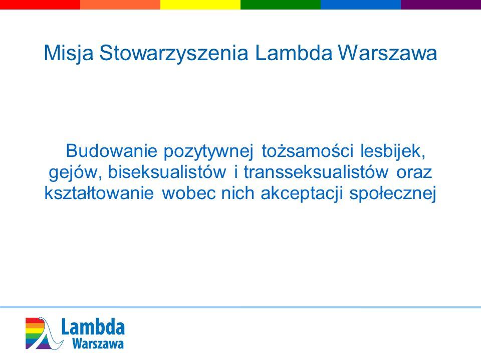 Misja Stowarzyszenia Lambda Warszawa Budowanie pozytywnej tożsamości lesbijek, gejów, biseksualistów i transseksualistów oraz kształtowanie wobec nich