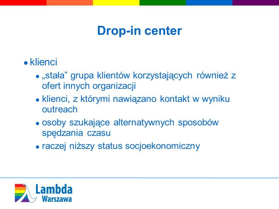 Drop-in center klienci stała grupa klientów korzystających również z ofert innych organizacji klienci, z którymi nawiązano kontakt w wyniku outreach o