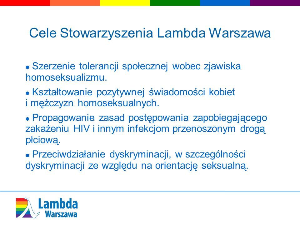 Cele Stowarzyszenia Lambda Warszawa Szerzenie tolerancji społecznej wobec zjawiska homoseksualizmu. Kształtowanie pozytywnej świadomości kobiet i mężc