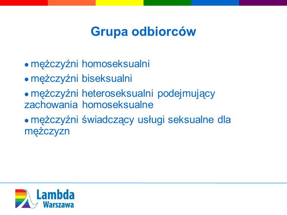 Grupa odbiorców mężczyźni homoseksualni mężczyźni biseksualni mężczyźni heteroseksualni podejmujący zachowania homoseksualne mężczyźni świadczący usłu
