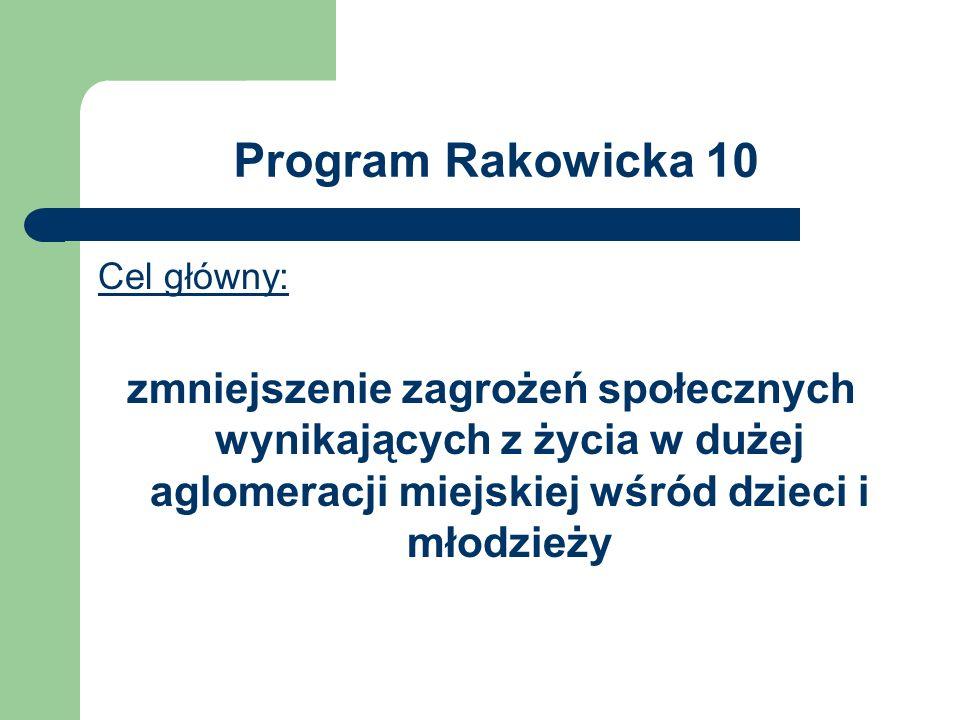 Program Rakowicka 10 Cel główny: zmniejszenie zagrożeń społecznych wynikających z życia w dużej aglomeracji miejskiej wśród dzieci i młodzieży