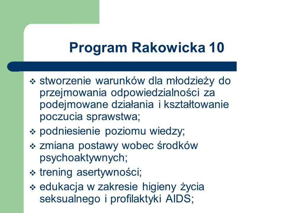 Program Rakowicka 10 stworzenie warunków dla młodzieży do przejmowania odpowiedzialności za podejmowane działania i kształtowanie poczucia sprawstwa;