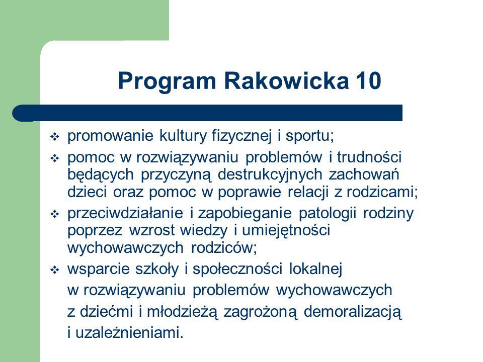 Program Rakowicka 10 promowanie kultury fizycznej i sportu; pomoc w rozwiązywaniu problemów i trudności będących przyczyną destrukcyjnych zachowań dzi