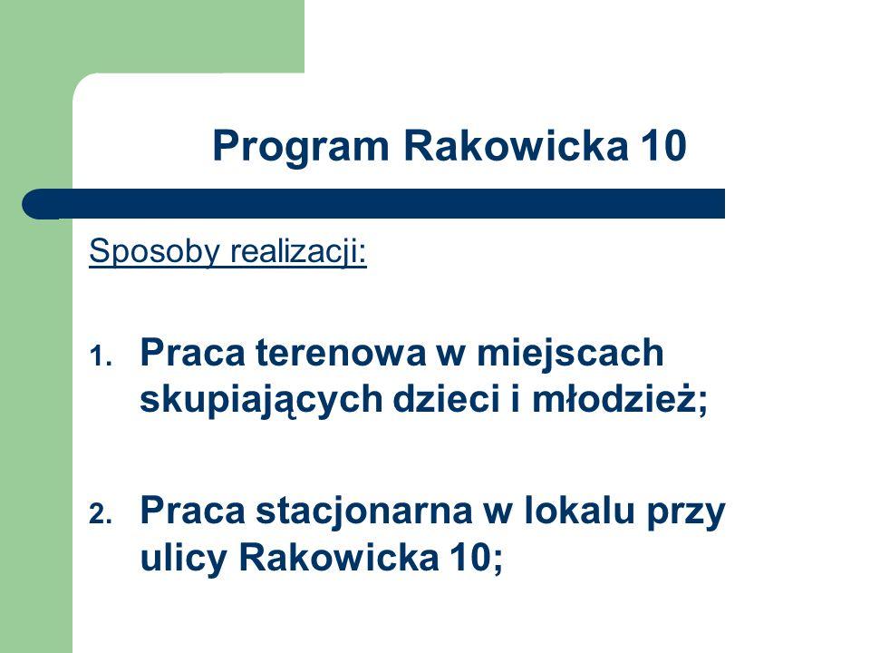 Program Rakowicka 10 Sposoby realizacji: 1. Praca terenowa w miejscach skupiających dzieci i młodzież; 2. Praca stacjonarna w lokalu przy ulicy Rakowi