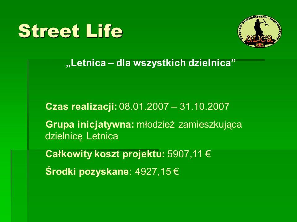 Street Life Letnica – dla wszystkich dzielnica Czas realizacji: 08.01.2007 – 31.10.2007 Grupa inicjatywna: młodzież zamieszkująca dzielnicę Letnica Ca