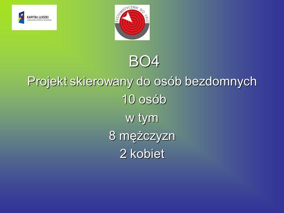 BO4 Projekt skierowany do osób bezdomnych 10 osób 10 osób w tym 8 mężczyzn 2 kobiet