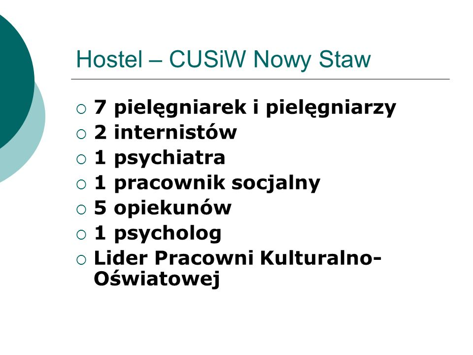 Hostel – CUSiW Nowy Staw 7 pielęgniarek i pielęgniarzy 2 internistów 1 psychiatra 1 pracownik socjalny 5 opiekunów 1 psycholog Lider Pracowni Kultural