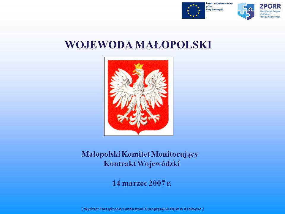 [ Wydział Zarządzania Funduszami Europejskimi MUW w Krakowie ] WOJEWODA MAŁOPOLSKI Małopolski Komitet Monitorujący Kontrakt Wojewódzki 14 marzec 2007 r.
