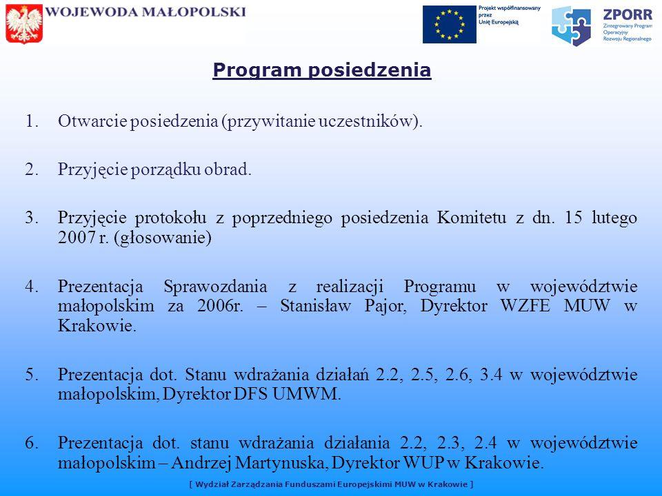 [ Wydział Zarządzania Funduszami Europejskimi MUW w Krakowie ] 1.Otwarcie posiedzenia (przywitanie uczestników).