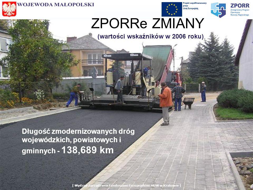 ZPORRe ZMIANY (wartości wskaźników w 2006 roku) Długość zmodernizowanych dróg wojewódzkich, powiatowych i gminnych - 138,689 km
