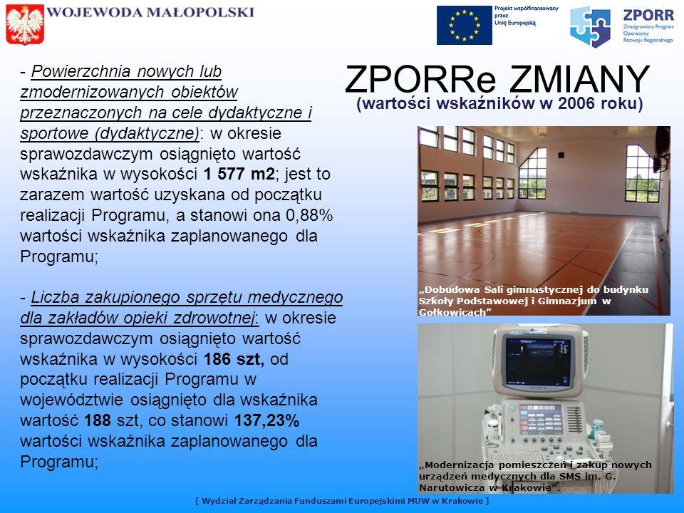 [ Wydział Zarządzania Funduszami Europejskimi MUW w Krakowie ] ZPORRe ZMIANY (wartości wskaźników w 2006 roku) - Powierzchnia nowych lub zmodernizowanych obiektów przeznaczonych na cele dydaktyczne i sportowe (dydaktyczne): w okresie sprawozdawczym osiągnięto wartość wskaźnika w wysokości 1 577 m2; jest to zarazem wartość uzyskana od początku realizacji Programu, a stanowi ona 0,88% wartości wskaźnika zaplanowanego dla Programu; - Liczba zakupionego sprzętu medycznego dla zakładów opieki zdrowotnej: w okresie sprawozdawczym osiągnięto wartość wskaźnika w wysokości 186 szt, od początku realizacji Programu w województwie osiągnięto dla wskaźnika wartość 188 szt, co stanowi 137,23% wartości wskaźnika zaplanowanego dla Programu; Dobudowa Sali gimnastycznej do budynku Szkoły Podstawowej i Gimnazjum w Gołkowicach Modernizacja pomieszczeń i zakup nowych urządzeń medycznych dla SMS im.