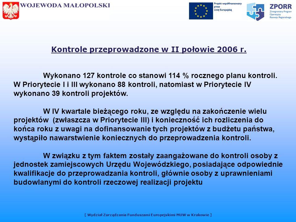 [ Wydział Zarządzania Funduszami Europejskimi MUW w Krakowie ] Kontrole przeprowadzone w II połowie 2006 r.