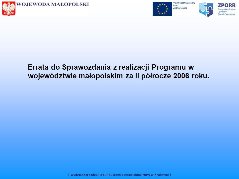 [ Wydział Zarządzania Funduszami Europejskimi MUW w Krakowie ] Errata do Sprawozdania z realizacji Programu w województwie małopolskim za II półrocze 2006 roku.