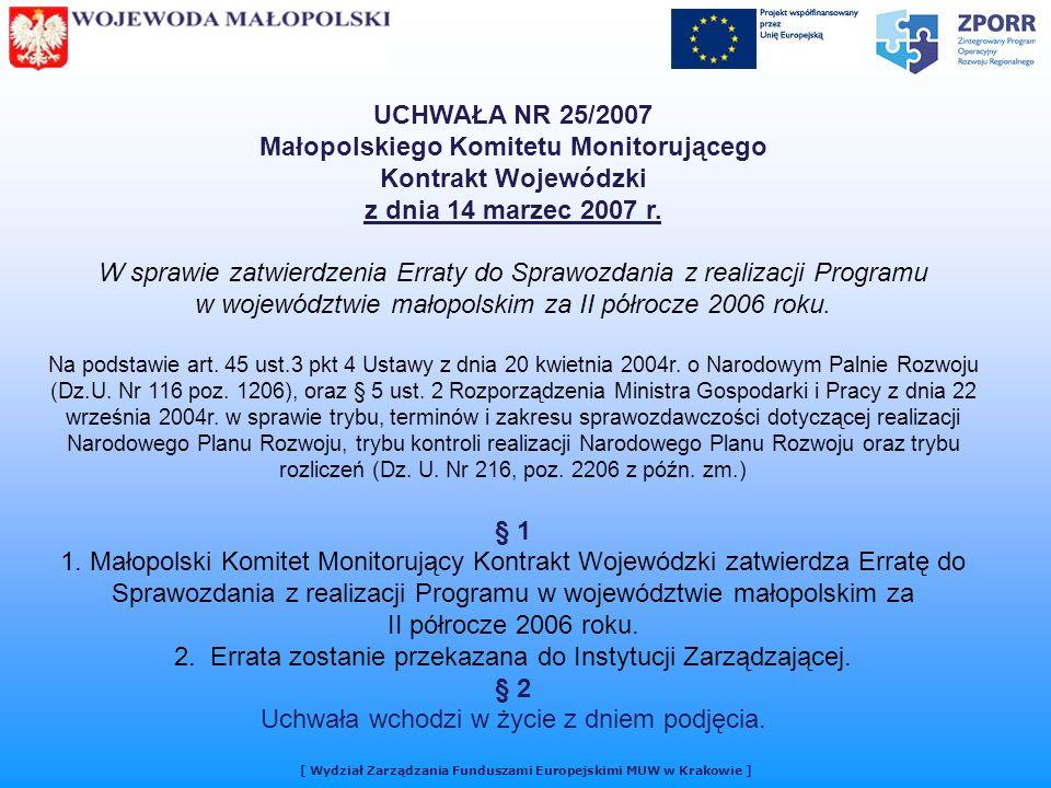 UCHWAŁA NR 25/2007 Małopolskiego Komitetu Monitorującego Kontrakt Wojewódzki z dnia 14 marzec 2007 r.