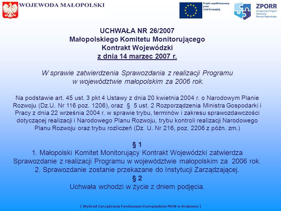 UCHWAŁA NR 26/2007 Małopolskiego Komitetu Monitorującego Kontrakt Wojewódzki z dnia 14 marzec 2007 r.