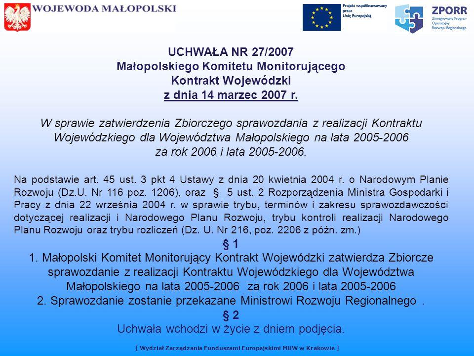 UCHWAŁA NR 27/2007 Małopolskiego Komitetu Monitorującego Kontrakt Wojewódzki z dnia 14 marzec 2007 r.
