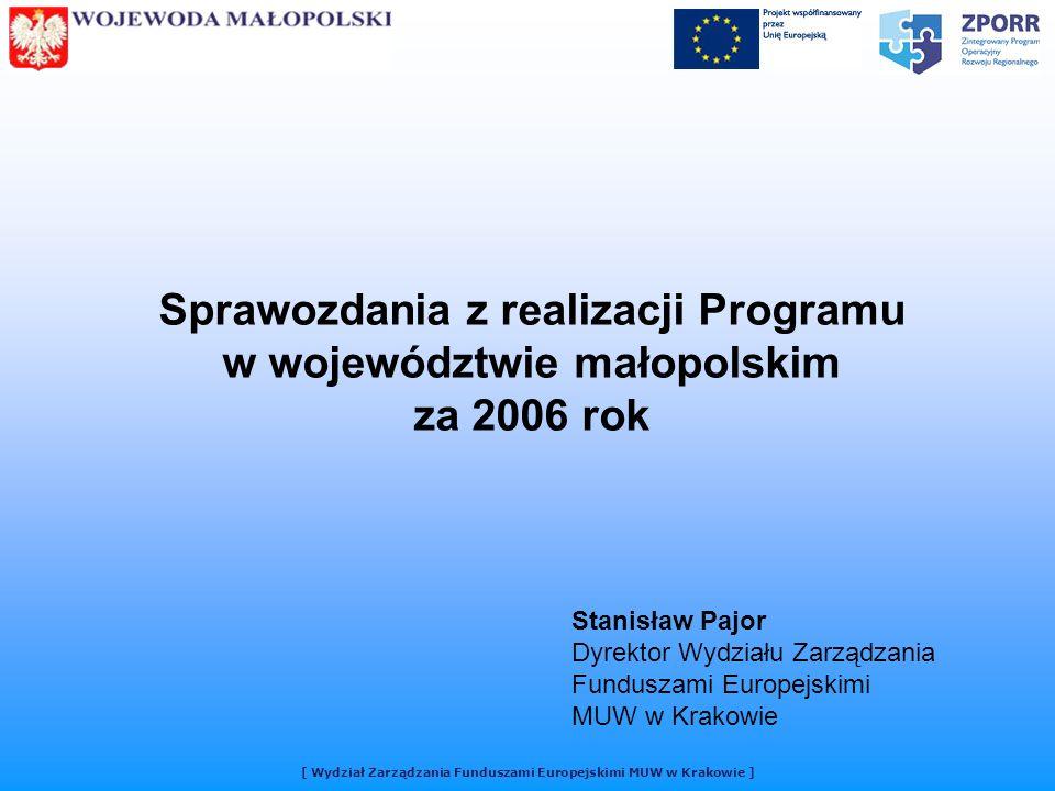 Sprawozdania z realizacji Programu w województwie małopolskim za 2006 rok Stanisław Pajor Dyrektor Wydziału Zarządzania Funduszami Europejskimi MUW w Krakowie
