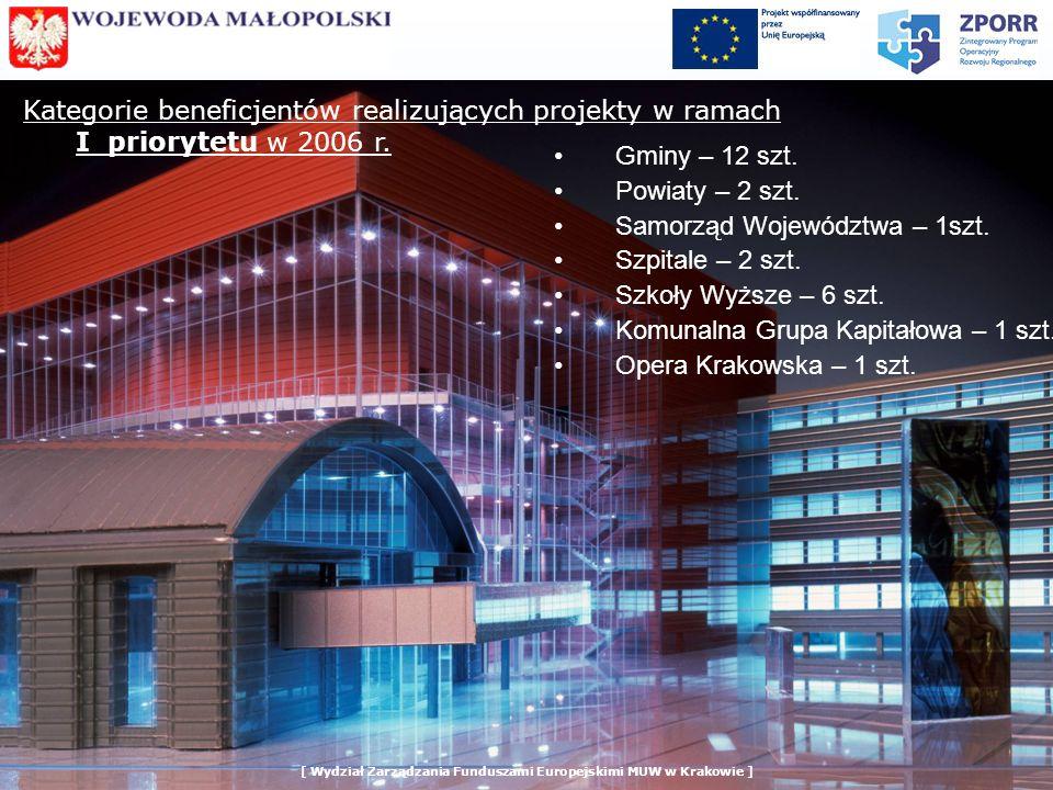 Kategorie beneficjentów realizujących projekty w ramach I priorytetu w 2006 r.