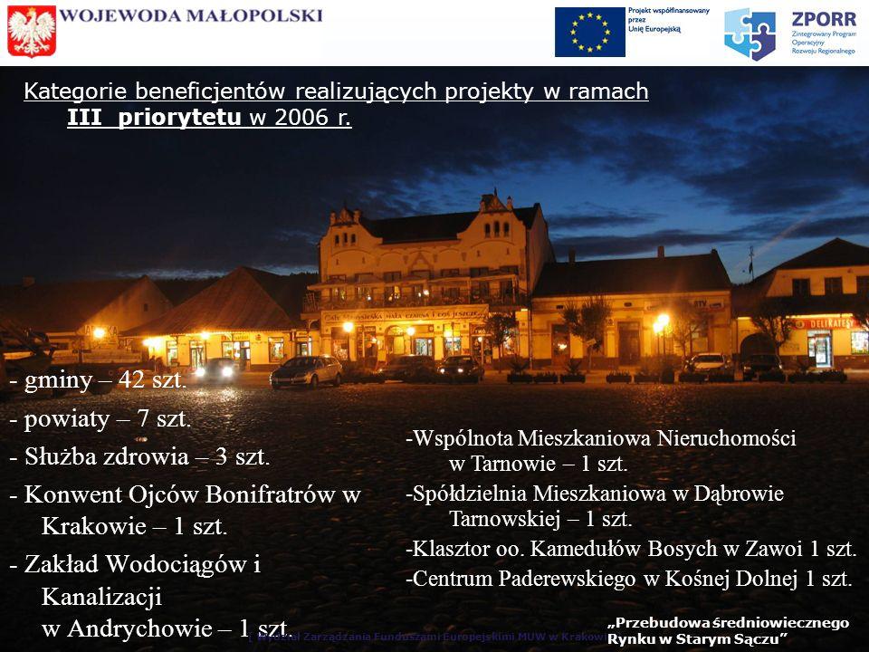 Kategorie beneficjentów realizujących projekty w ramach III priorytetu w 2006 r.