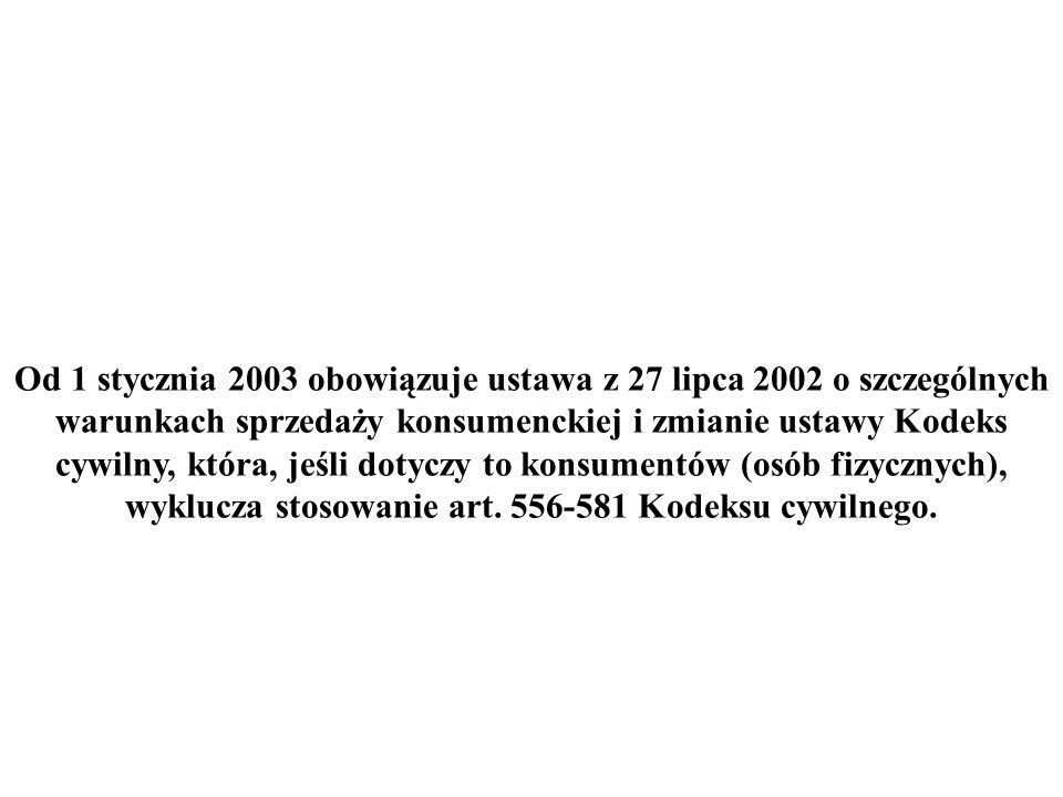 Od 1 stycznia 2003 obowiązuje ustawa z 27 lipca 2002 o szczególnych warunkach sprzedaży konsumenckiej i zmianie ustawy Kodeks cywilny, która, jeśli do