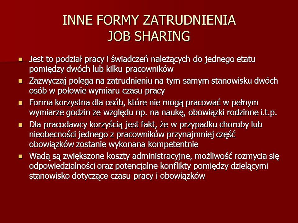 INNE FORMY ZATRUDNIENIA JOB SHARING Jest to podział pracy i świadczeń należących do jednego etatu pomiędzy dwóch lub kilku pracowników Jest to podział