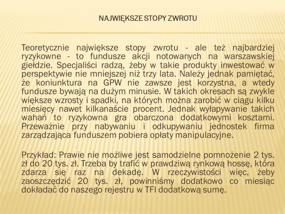 NAJWIĘKSZE STOPY ZWROTU Teoretycznie największe stopy zwrotu - ale też najbardziej ryzykowne - to fundusze akcji notowanych na warszawskiej giełdzie.