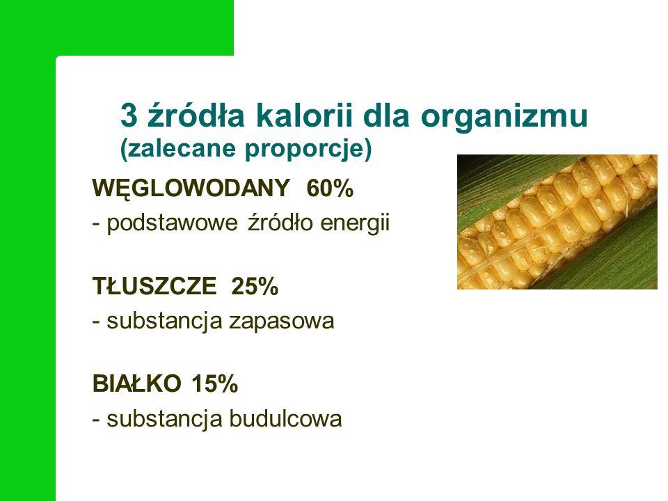 3 źródła kalorii dla organizmu (zalecane proporcje) *** WĘGLOWODANY 60% - podstawowe źródło energii TŁUSZCZE 25% - substancja zapasowa BIAŁKO 15% - su