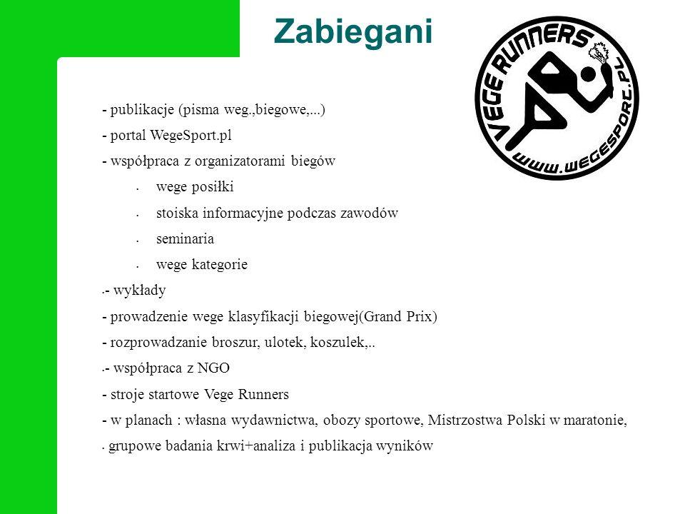 Zabiegani - publikacje (pisma weg.,biegowe,...) - portal WegeSport.pl - współpraca z organizatorami biegów wege posiłki stoiska informacyjne podczas z