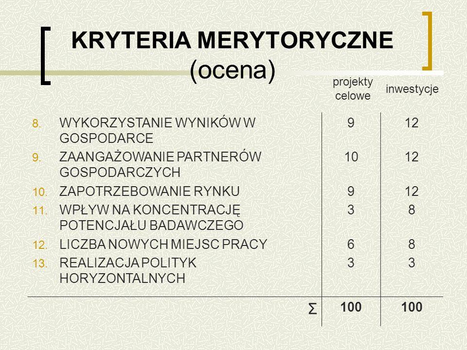 KRYTERIA MERYTORYCZNE (ocena) 8. WYKORZYSTANIE WYNIKÓW W GOSPODARCE 9.
