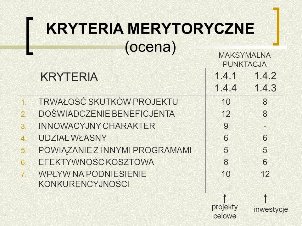 KRYTERIA MERYTORYCZNE (ocena) KRYTERIA 1.4.1 1.4.4 1.4.2 1.4.3 1.