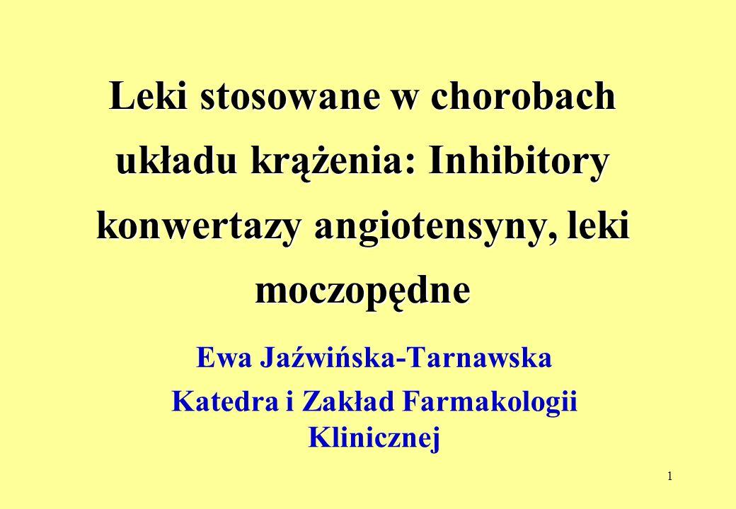 12 Inhibitory konwertazy angiotensyny- niepożądane działania ObjawyCzęstość występowania Kaszel Niedociśnienie tętnicze Zawroty głowy Bóle głowy Osłabienie Pogorszenie czynności nerek Białkomocz Neutropenie Wysypka Obrzęk naczynioruchowy Zaburzenia smaku hiperkaliemia 10-20 do ok.