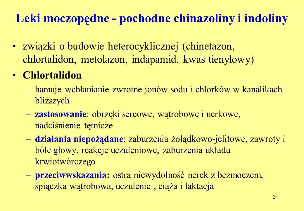 24 Leki moczopędne - pochodne chinazoliny i indoliny związki o budowie heterocyklicznej (chinetazon, chlortalidon, metolazon, indapamid, kwas tienylowy) Chlortalidon –hamuje wchłanianie zwrotne jonów sodu i chlorków w kanalikach bliższych –zastosowanie: obrzęki sercowe, wątrobowe i nerkowe, nadciśnienie tętnicze –działania niepożądane: zaburzenia żołądkowo-jelitowe, zawroty i bóle głowy, reakcje uczuleniowe, zaburzenia układu krwiotwórczego –przeciwwskazania: ostra niewydolność nerek z bezmoczem, śpiączka wątrobowa, uczulenie, ciąża i laktacja