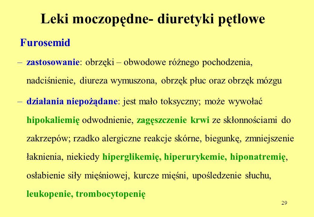 29 Leki moczopędne- diuretyki pętlowe Furosemid –zastosowanie: obrzęki – obwodowe różnego pochodzenia, nadciśnienie, diureza wymuszona, obrzęk płuc oraz obrzęk mózgu –działania niepożądane: jest mało toksyczny; może wywołać hipokaliemię odwodnienie, zagęszczenie krwi ze skłonnościami do zakrzepów; rzadko alergiczne reakcje skórne, biegunkę, zmniejszenie łaknienia, niekiedy hiperglikemię, hiperurykemie, hiponatremię, osłabienie siły mięśniowej, kurcze mięśni, upośledzenie słuchu, leukopenie, trombocytopenię